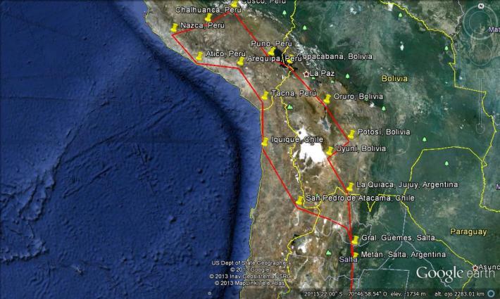 mapa por sudamerica en xtz
